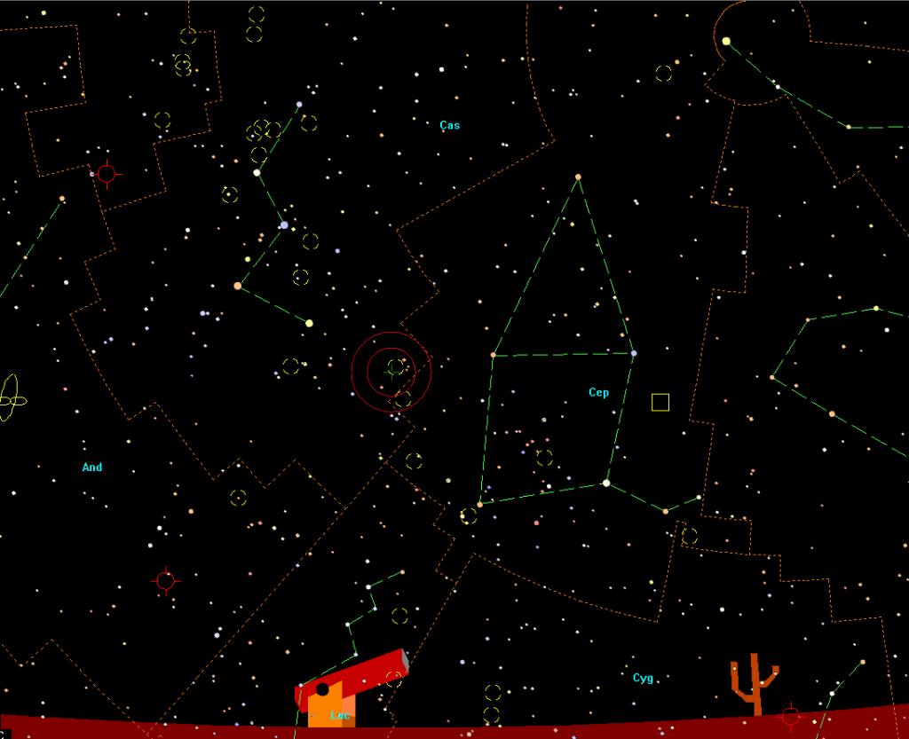 Constelacion de Casiopea con la posición de la Nova